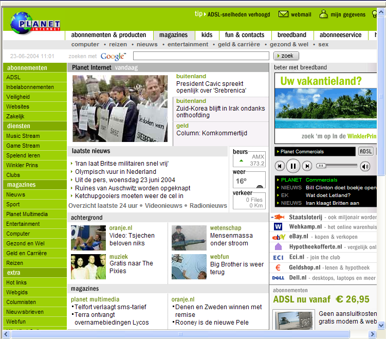 homepage van planet internetrond 2004